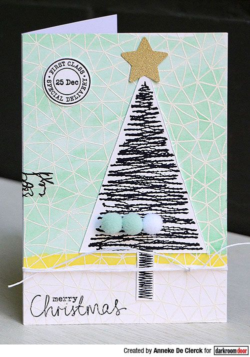Christmas Card by Anneke De Clerck using Darkroom Door Abstract Triangles Background Stamp and Stitched Christmas Rubber Stamp Set