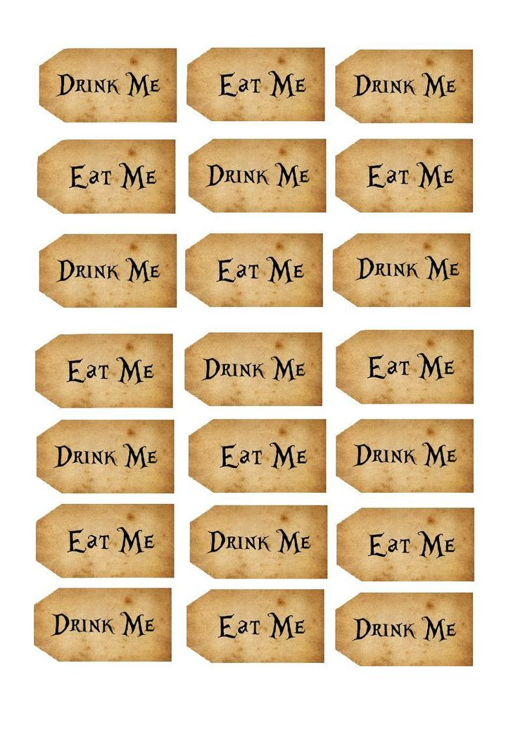 Alice in Wonderland Printable Tags | 21 Vintage Alice In Wonderland Eat Me Drink Me Tags Cake Rice Paper ...