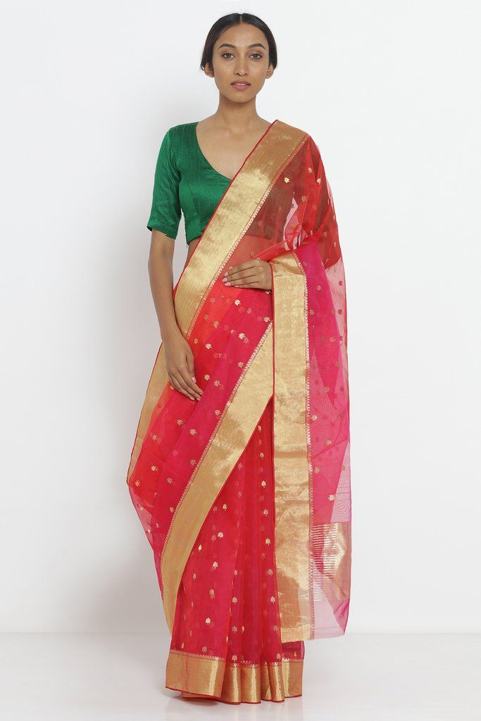 acb78b2a6f0a00 ₹14,999 Red Handloom Pure Chanderi Silk Saree with Zari Motif and Border