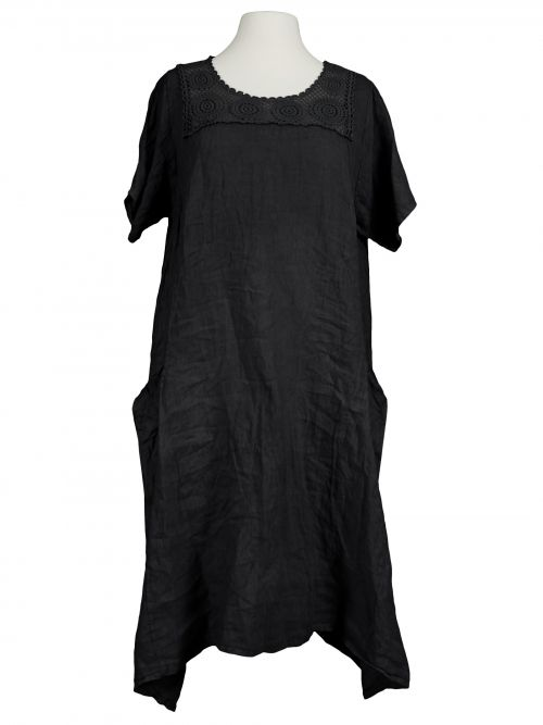 Damen Leinenkleid mit Spitze, schwarz von Spaziodonna bei www.meinkleidchen.de
