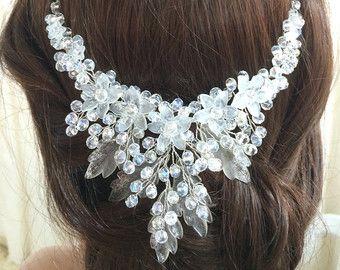 Bridal Crown Crystal Astilbe Flower Crown von MelindaRoseDesign