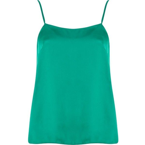 River Island Green cami top (£8) ❤ liked on Polyvore featuring tops, blusas, tank tops, shirts, sale, river island top, cami top, green tank top, green cami top and elastic top