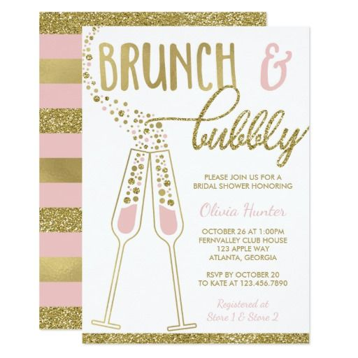 Brunch and Bubbly Bridal Shower Invitation, Gold Card