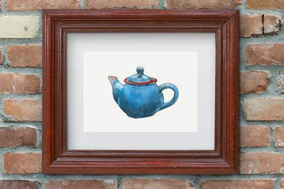 Blue Teapot Watercolor painting instant digital by Penfood
