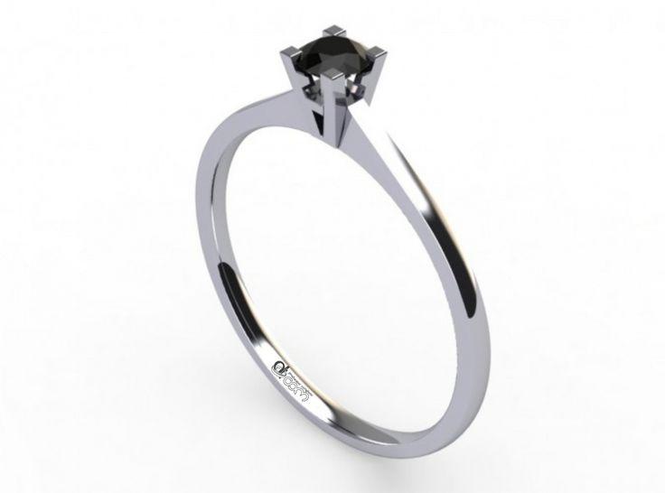 Inel de logodna ATCOM Lux cu diamant negru PHOENIX aur alb