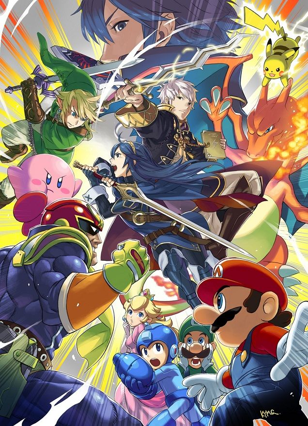 Smash Bros by Kozaki Yusuke. Can I have this printed very large and hang it in my room? Please! Wait. That's weird...