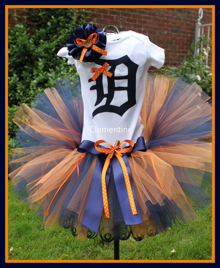Baby Clothes: Baby Girl Detroit Tigers Tutu Onesie and Matching Headband