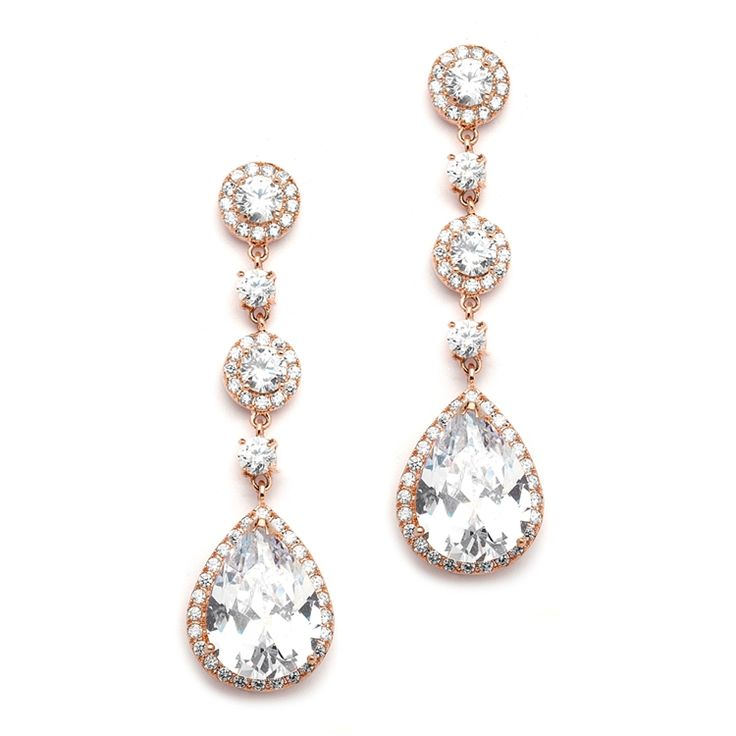 Rose Gold Wedding Earrings With Pave Cz Pear Drop Cubic Zirconia Feature