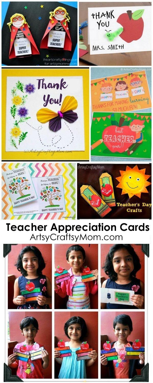 20 DIY Teacher Appreciation card ideas |  Teachers' Day card Ideas with Free Printables