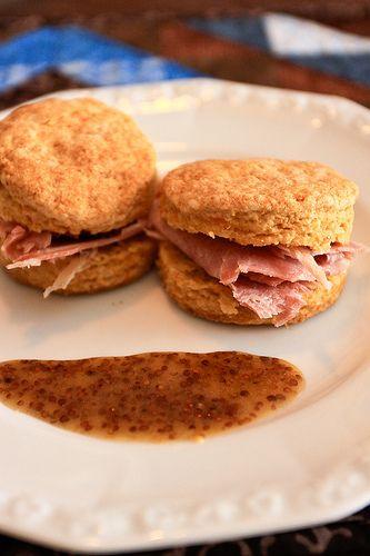 Sweet potato biscuits with Virginia ham