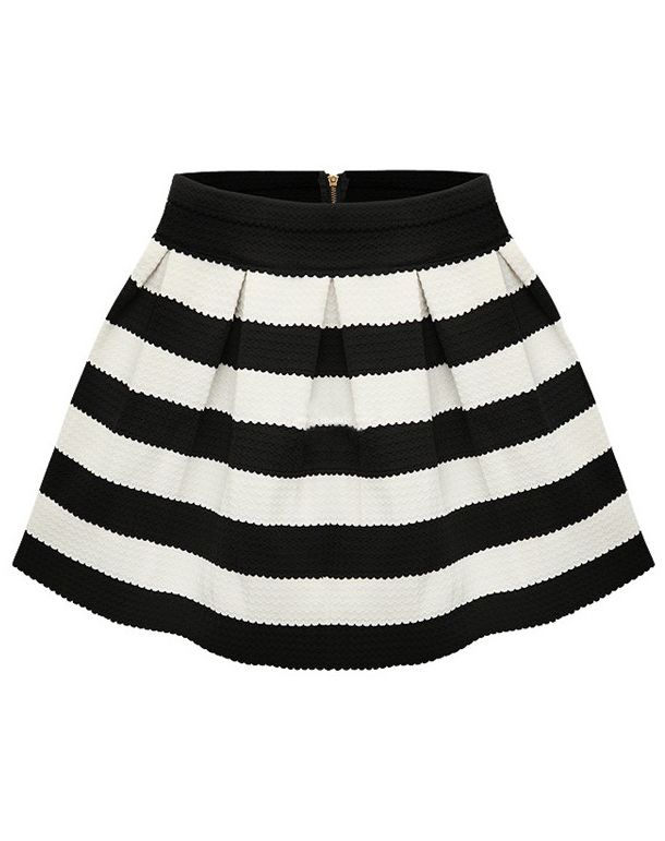 Shop Black Apricot Stripe Flare Zip Skirt online. SheIn offers Black Apricot Stripe Flare Zip Skirt & more to fit your fashionable needs.