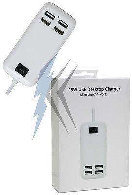 15w 4 Port USB Wall Charger for Apple iPhone 5 5S 6 6s 6+ 6+s Samsung S6 S7 Edge From AllCityImports