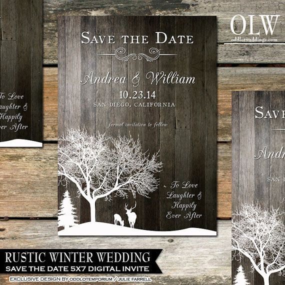 Printable Wedding Save The Date Rustic Save The Date Deer Save The