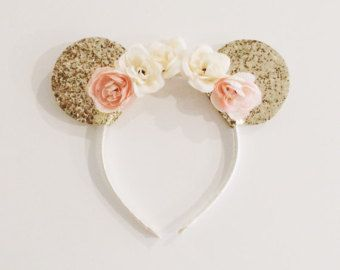 Diadema de orejas de oro Minnie Mouse con por EllaReeseDesigns