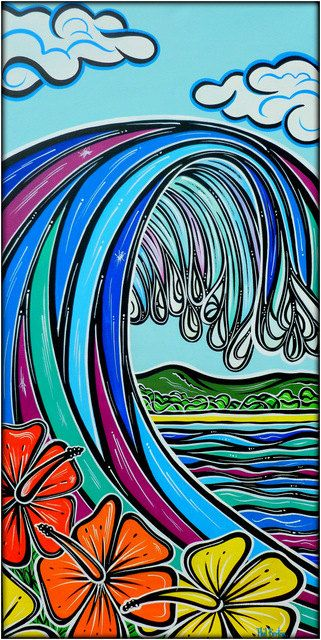 Retro Wave – Original Surf Painting – $390 PICTURE: One groovy wave in bright colours plus hibiscus flowers.   ORIGINAL PAINTING: in Acrylics on 18 x 36 inch x 1.4 inch deep wrapped canvas by Phil Burton. It is ready to hang. (March 2013)