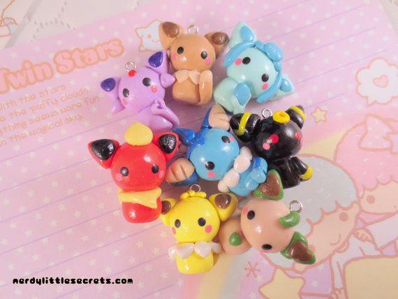 Pokemon Eevee Evolutions Chibi Kawaii Charms by NerdyLittleSecrets, $42.00