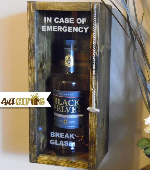 In Case of Emergency Break Glass, Black Velvet, Whiskey Lovers Gift, 21st Birthday Gift, Personalized Gift, Funny Gift, Unique Gift, Barware