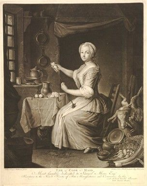 Interior with a maid seated on a chair stuffing a partridge; fireplace in the background; dead hare and pheasant to r; cat seated under a table; window to l; vegetables on the floor in the foreground to r; after Heilmann.  1773  Mezzotint