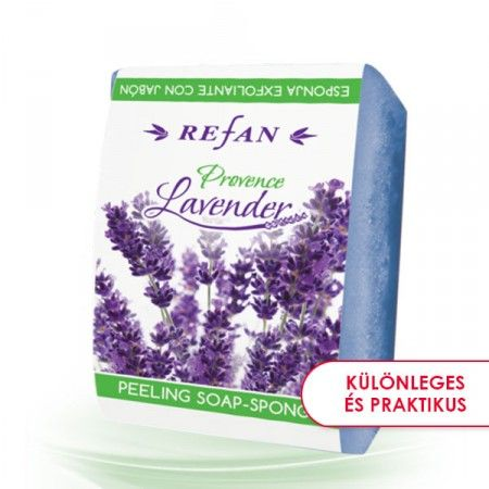 Provanszi levendula szivacsos szappan - 2 az 1-ben bőrfeszesítő szivacsos szappan a provancsi levendula varázslatos illatával. A masszírozó szivacs kényelmes és frappáns megoldás, a bőröd élvezni fogja a fürdés minden percét. Levendula olajat* tartalmaz, mely nyugtató hatással bír a szervezetre. Minden bőrtípusra alkalmas. ©Refantázia