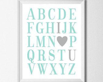 ABC Print alfabet Print Aqua zilver onderwijs Print Boy