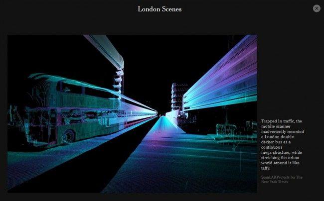 Comment les voitures autonomes perçoivent-elles leur environnement? Le New York Times, en association avec le studio ScanLAB Projects, vous propose de contempler la ville à travers la télédétection par laser utilisée pour les véhicules...