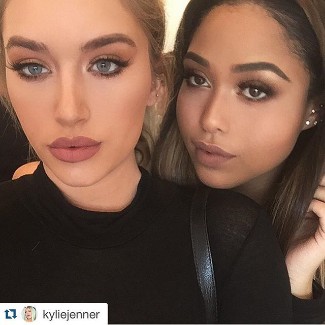 Pin for Later: This Is What Kylie Lip Kit Colors Look Like on All Skin Tones @stassiebaby Wearing Candy K and @jordynwoods Wearing Dolce K