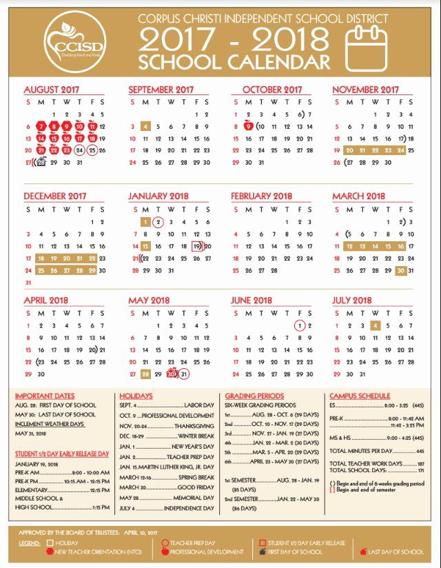 New 46 Design Ccisd Calendar 2019 Corpus Christi School Calendar