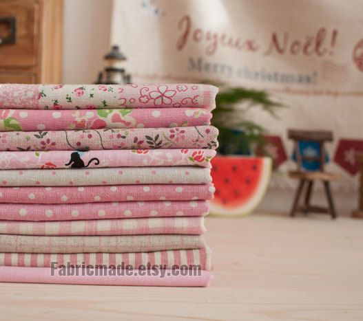 Pink Bundle Pink Linen Cotton Fabric Bundle Pink by fabricmade, $12.80