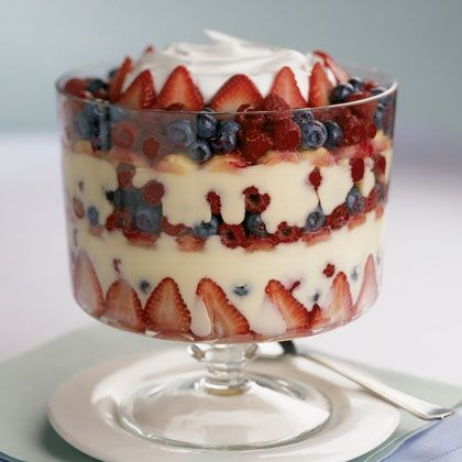Summer Berry Trifle This American version of the traditional English dessert is as pretty to look at as it is delicious to eat.