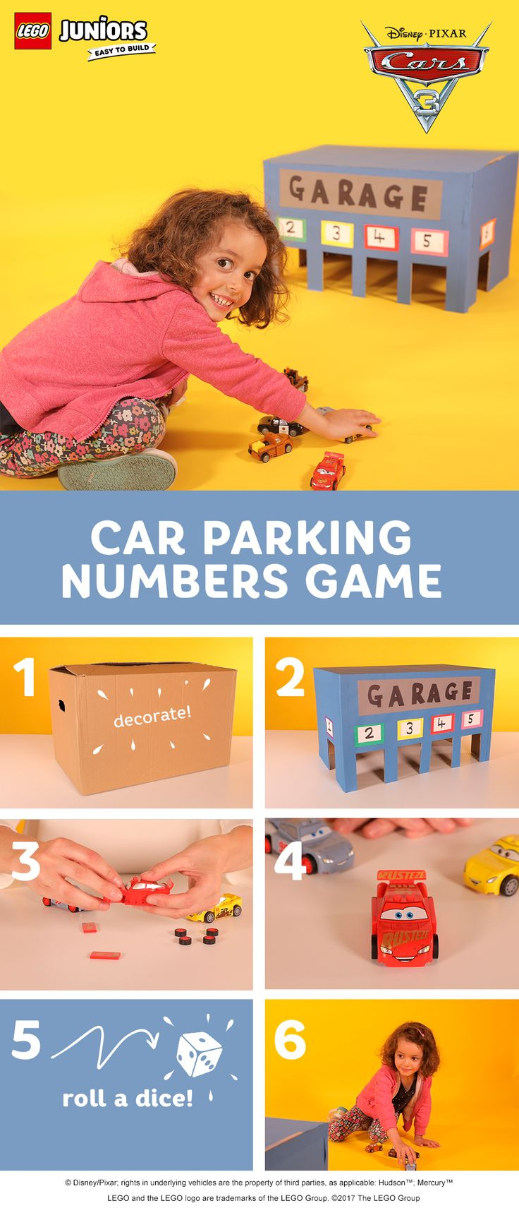 This is a super simple and fun way to help kids with number recognition - using LEGO cars and a cardboard box. Cut out garage doors from an old cardboard box, help your child decorate it with whatever craft supplies you have, then write the numbers one to six on the doors. Encourage your child to roll a dice and aim the car for that number garage door. Keep score using LEGO bricks for the points, or ask your child to tally up the points with a crayon on a piece of paper.
