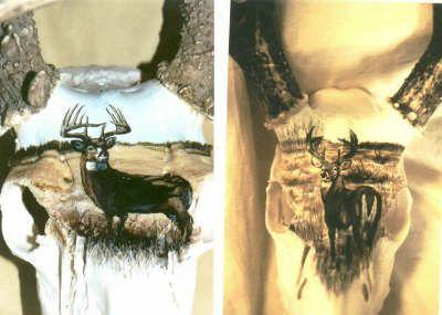 painted deer skulls   Spirit Feather Artistry --