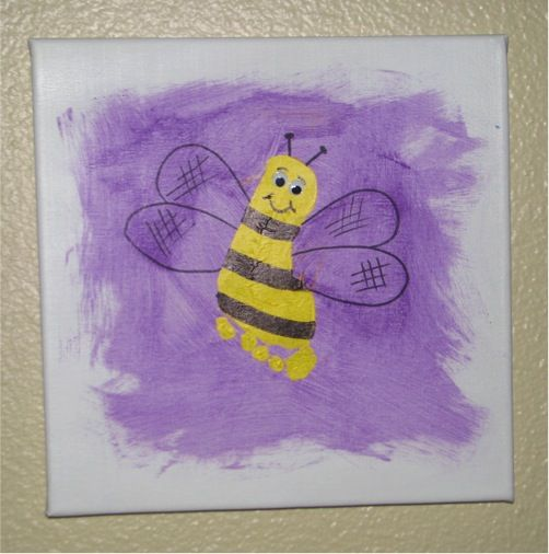 Foot print artFootprints Art, Footprints Canvas, Foot Prints, Canvas Art, Handprint Art, Kids Crafts, Footprints Crafts, Bumble Bees, Bees Art Footprints