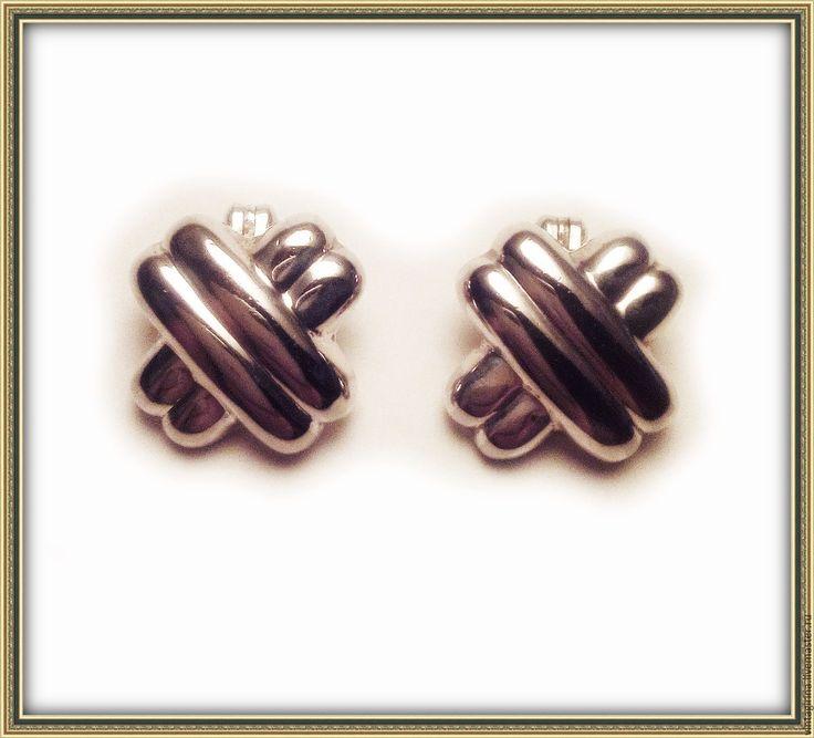 Купить Винтажные серебряные клипсы, THAILAND 1970-80 г.г. - серебряный, винтажные клипсы