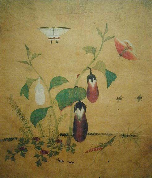 (Korea) Eggplant & 방아깨비 by Lady Shin Saimdang (1504-1551). ca 16th century CE. color on silk. Joseon Kingdom, Korea.