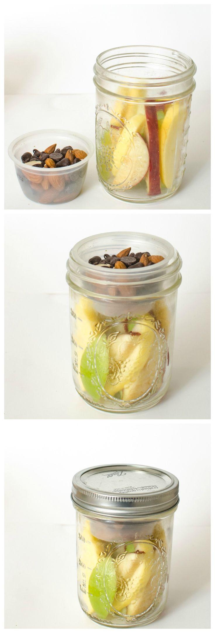 Healthy Snacks in Jars - Apple Slices + Chocolate