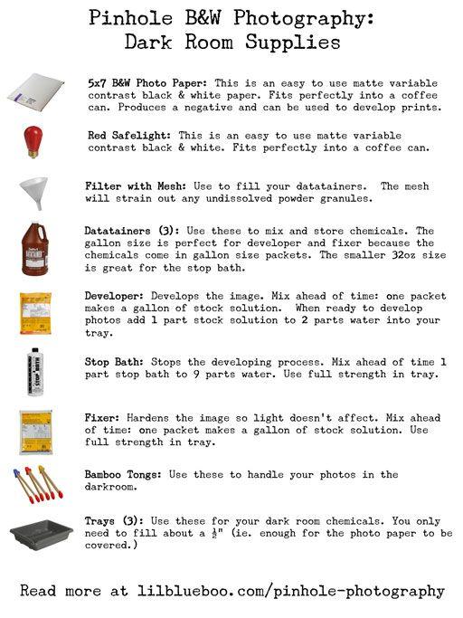 Printable Basic Dark Room Supply List (Pinhole Camera Series)