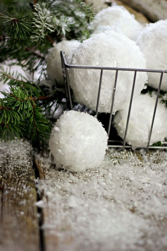 DIY Snowballs made with styrofoam and Epson salt