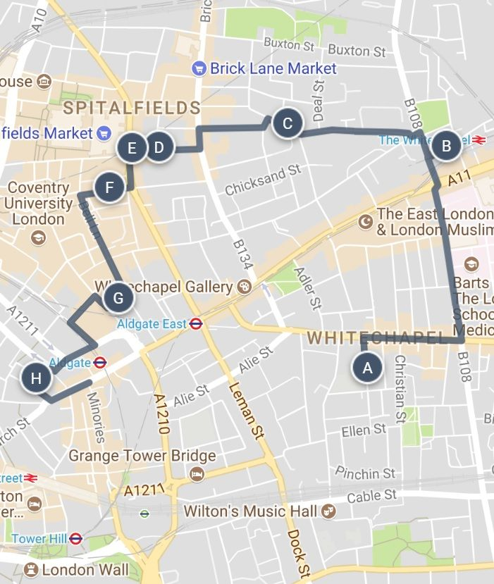 Jack The Ripper East London Sightseeing Walking Tour Map And Other Great Ideas For Exploring The City London Sightseeing Britain Vacation Cool Places To Visit