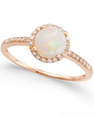 Opal (3/4 ct. t.w.) and Diamond (1/8 ct. t.w.) Ring in 14k Rose Gold | macys.com