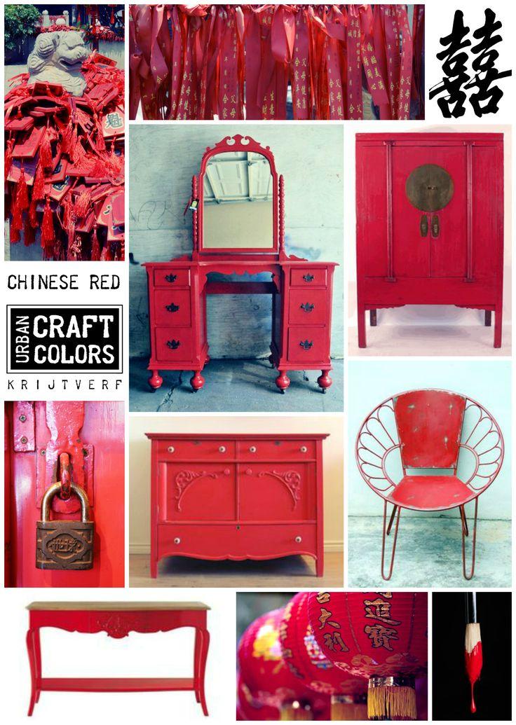 Urban Craft Colors Krijtverf CHINESE RED... geïnspireerd op de rode kleur van Chinese lampionnen en de Chinese betekenis van de kleur rood: geluk. Een mooie, volle rode tint, nieuw in de collectie 2017. www.facebook.com/urbancraftfactorycolors