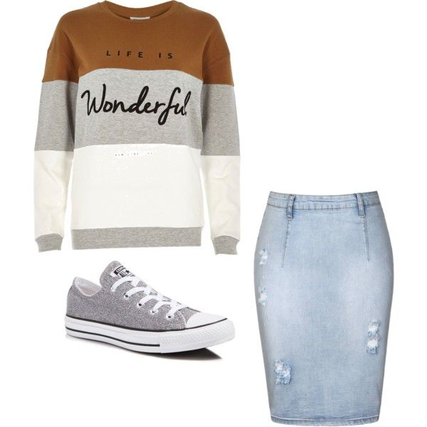 A fashion look from November 2015 featuring River Island sweatshirts, Ally Fashion skirts and Converse sneakers. Browse and shop related looks.