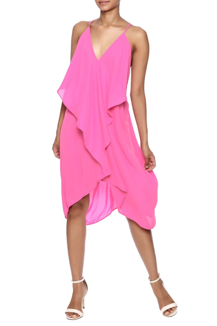 Flowyhot pink dress with a v-neckline ruffled center and a drape t-back.  Hot Pink Dress by ALEX&RAW. Clothing - Dresses - Casual Texas