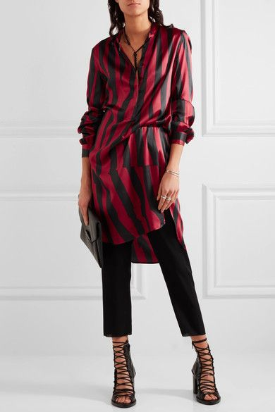 Ann Demeulemeester - Striped Stretch-silk Satin Tunic - Claret - FR42