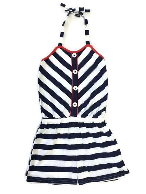 9d002b32d9fa Hartstrings - Girl Navy White Stripes Halter Romper - Shop designer ...