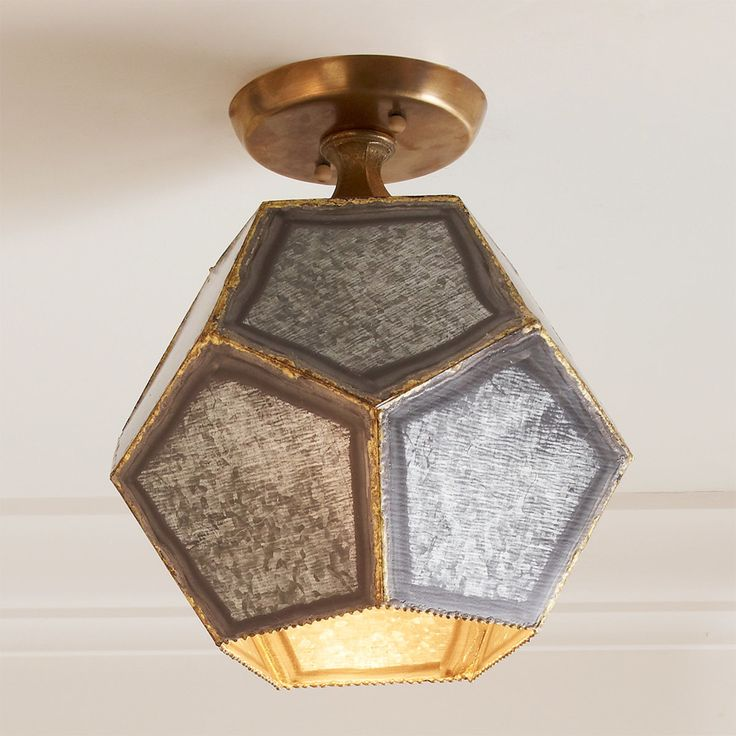 Pentagon Polyhedron Ceiling Light galvanized