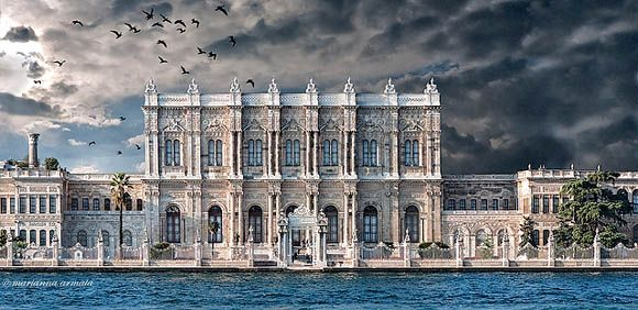 Dolmabahçe Palace in Istanbul, Turkey. Seat of government for the Ottoman Emperor from 1856-1922.