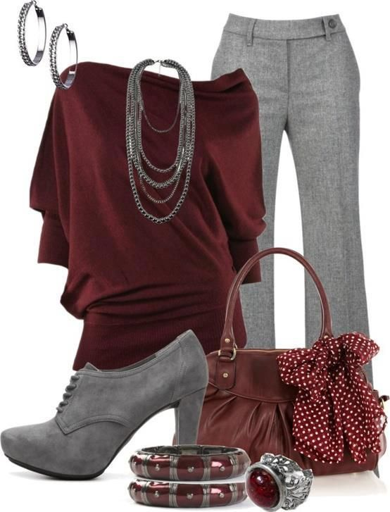 Burgundy and gray