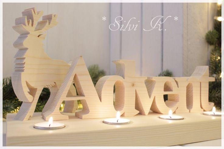 Buchstaben & Schriftzüge - ☆ Adventlicht mit Hirsch ☆ Adventskranz natur - ein Designerstück von alsial bei DaWanda