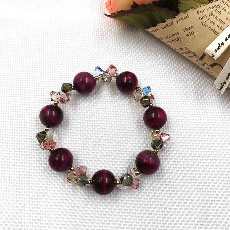 UneJoux Fashion Bracelet With Tigerite & Swarovski Crystal FBL-1