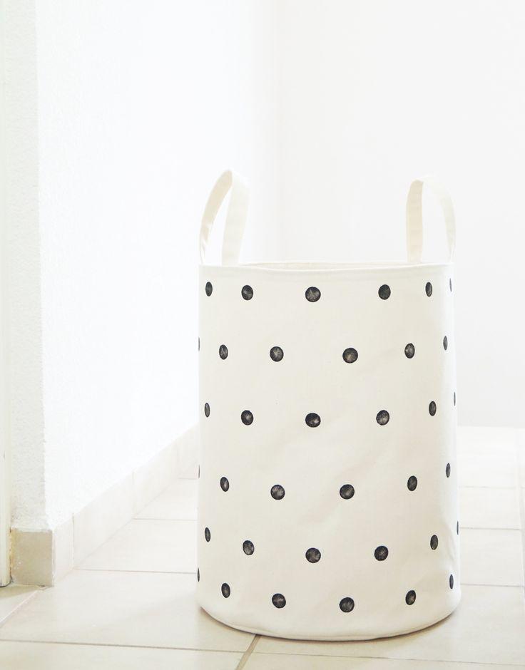 Laundry hamper. White, polka dots. Toy storage basket. Laundry room decor. Kids room, Baby nursery. Scandinavian home. Interior design. Styling. Handmade Etsy